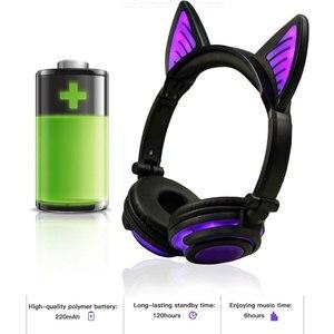 Image 4 - Holyhah fone de ouvido bluetooth wireless, fone de ouvido infantil de gato piscante dobrável, presente de aniversário, fone de ouvido gamer com luz led