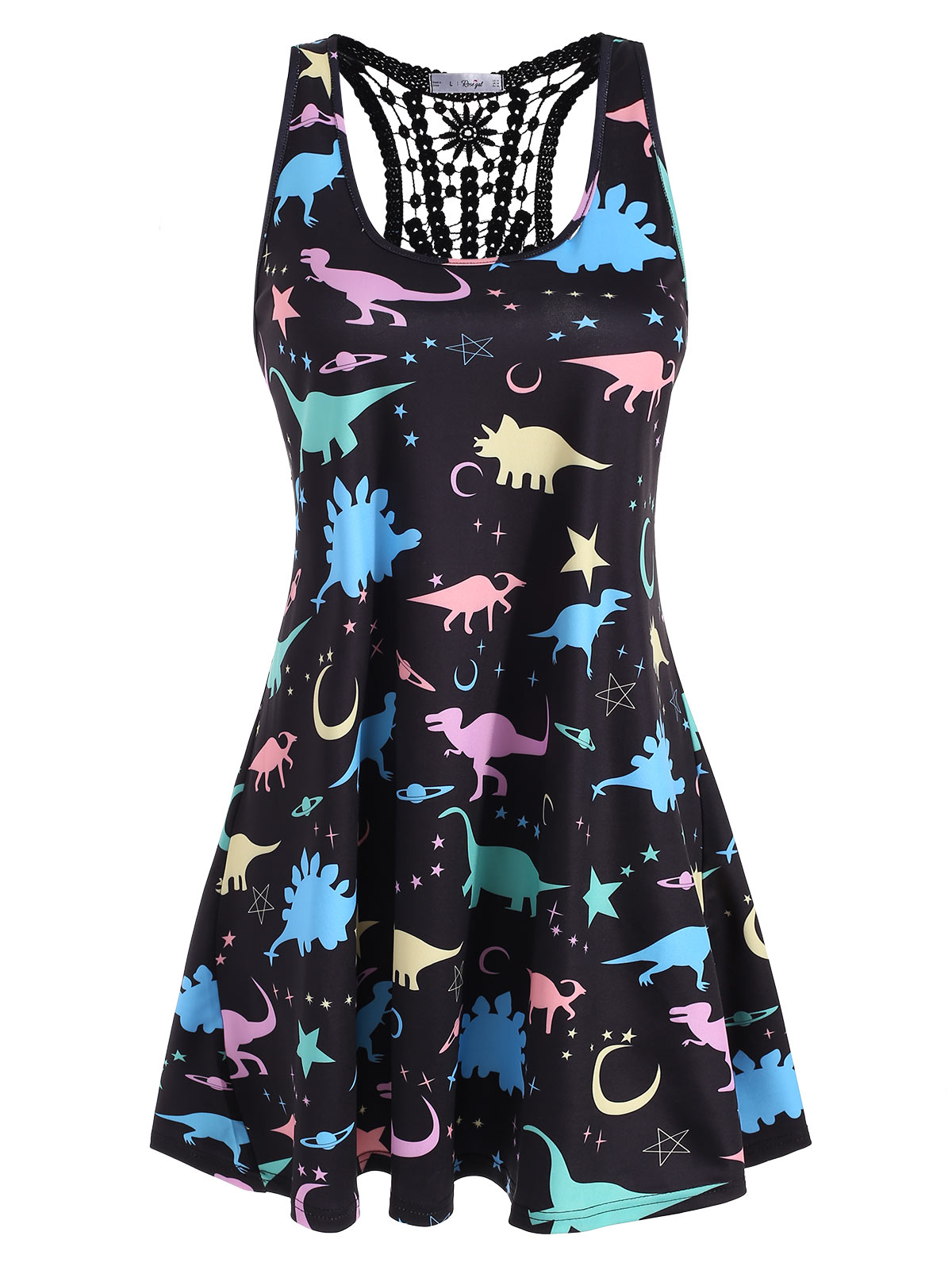 ROSE GAL Plus Size 5XL Summer Tank Tops Women Streetwear Dinosaur Animal Print Back Lace Sleeveless Top Tunic T Shirt Women in Tank Tops from Women 39 s Clothing