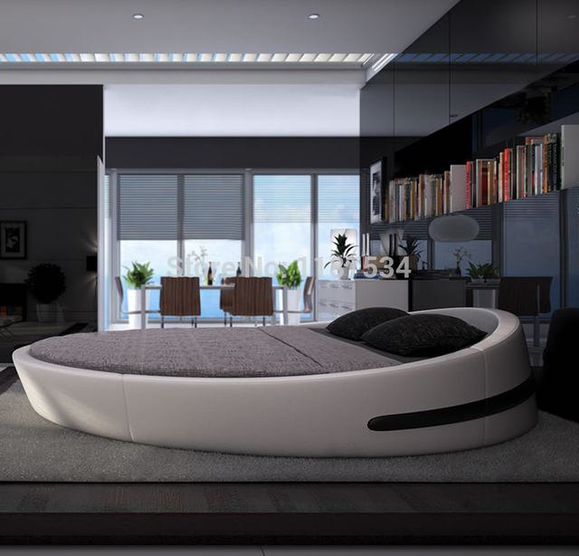 Bedroom furniture king size large round soft bed leather plush Flash grand  soft leather bed Y03