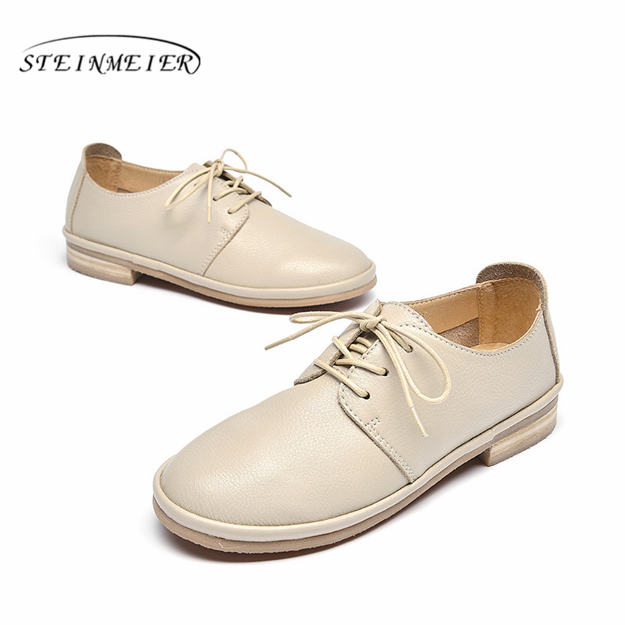 Genuine Leather Women Flats Oxford Shoes Woman Sneakers lady brogues Vintage Casual shoes for Women Footwear 2019 beige whiteGenuine Leather Women Flats Oxford Shoes Woman Sneakers lady brogues Vintage Casual shoes for Women Footwear 2019 beige white