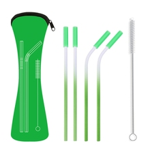 Reusable Stainless Steel Straw Straight Curved Environmentally Friendly For Cold Drink Bar Tool