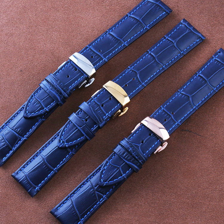 16mm 18mm 20mm22MM Dark-Sea-Blue New Watchbands,Genuine Leather Watches Strap, Silver Butterfly Deployment Clasp for Men watches zlimsn genuine leather watchbands for tissot black brown watch strap silver butterfly clasp 20 22 24 26mm watches accessiores