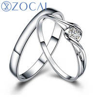 ZOCAI Perfect Match 0.08 CT Certified Diamond His And Hers Wedding bands (Women RIng & Men Ring) 18K White Gold (Au750) Q00069AB