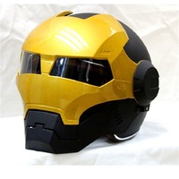 MASEI 610 IRONMAN Motorcycle Helmet Black Gold Casque Motocross Half Helmet Personality Open Face Helmet Trend