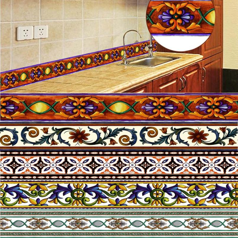10M PVC Waterproof Tile Floor Waistline decorations for home Wall Sticker For Kitchen Bathroom Decor tile stickers 11.29