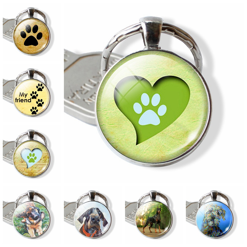 Love Pendant  Keychain  Paw Prints Key Rings  Dog Lovers  Sliver Plated Key Chain Christmas Gift  For Children For Friend