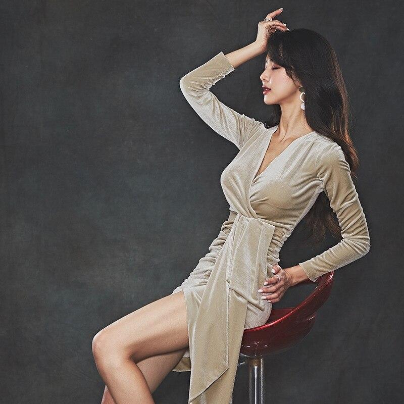 H Gre Plus Solide Herbst Asymmetrische Kleid 2018 Frauen Volle Khaki WDH29YIE