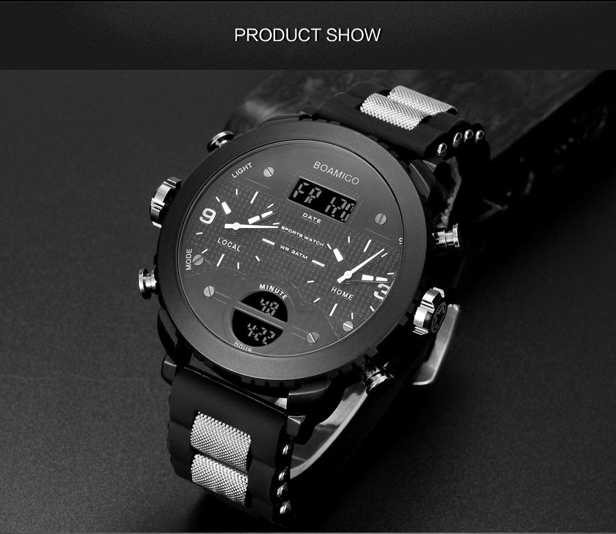 HTB1WkU2a.R1BeNjy0Fmq6z0wVXaR men watches BOAMIGO brand 3 time zone military sports watches male LED digital quartz wristwatches gift box relogio masculino