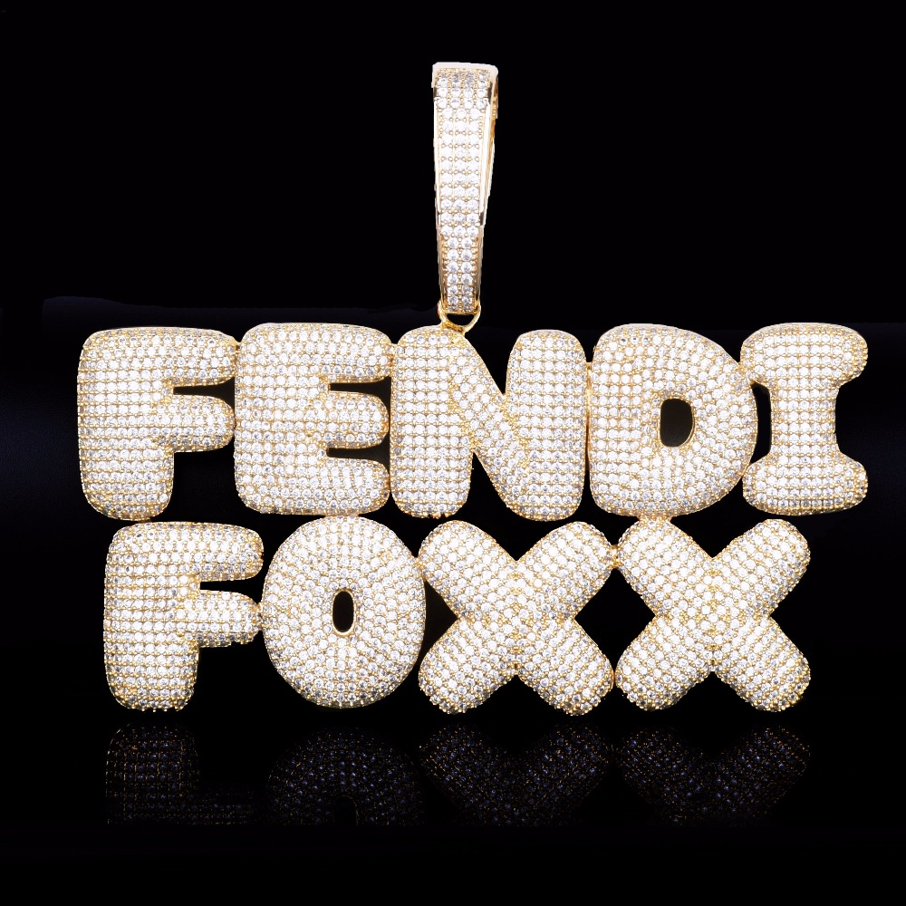 Image 4 - With 20MM Cuban Chain Custom Name Bubble Letters Chain Pendants Necklaces Men's Zircon Hip Hop Jewelry For Gift-in Chain Necklaces from Jewelry & Accessories