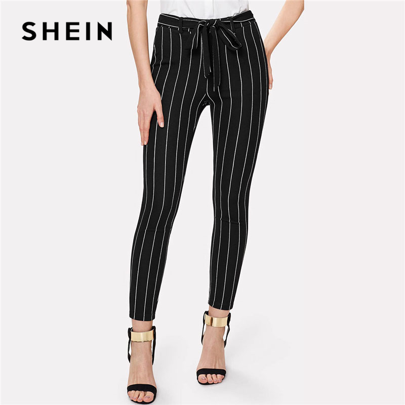 919bc3200 SHEIN Office Vertical Striped Skinny Pants Women Elastic Waist Belted Bow  Tapered Trousers Spring New Elegant