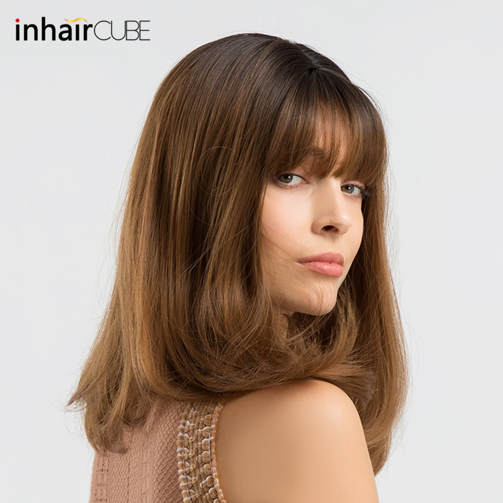 INHAIR CUBE Synthetic Wigs For Women Ombre Dark Roots Long Wavy Wig With Bangs Hair Realistic Simulation Scalp Middle Part
