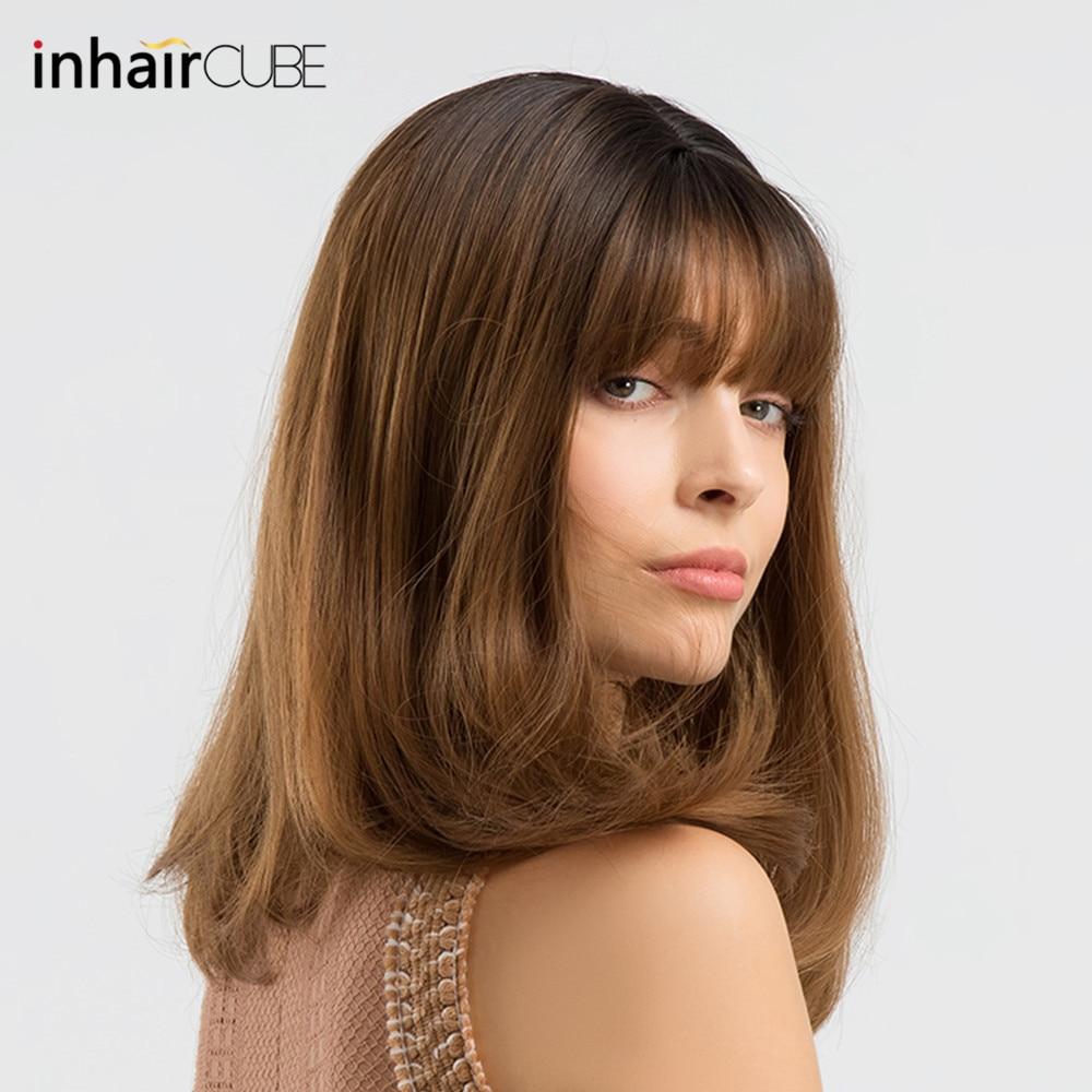 INHAIR CUBE perruques synthétiques pour femmes Ombre racines sombres longue perruque ondulée avec frange cheveux réaliste Simulation cuir chevelu partie centrale