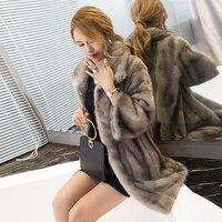 Women Real Mink Coats Ladies Natural Genuine Fur Coats Mink China Luxury Three Quarter Sleeve Mink Fur Clothing