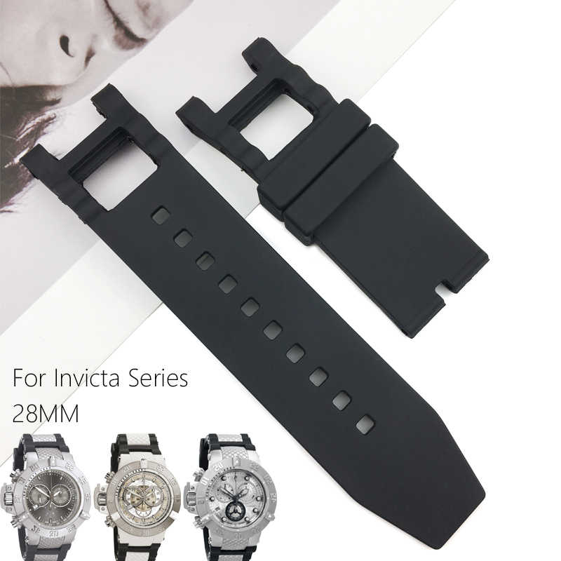 28mm Rubber Silicone Watch Strap Black Waterproof watchband Suitable for Invicta Noma III Noma 3 - 18520 19828 Watch