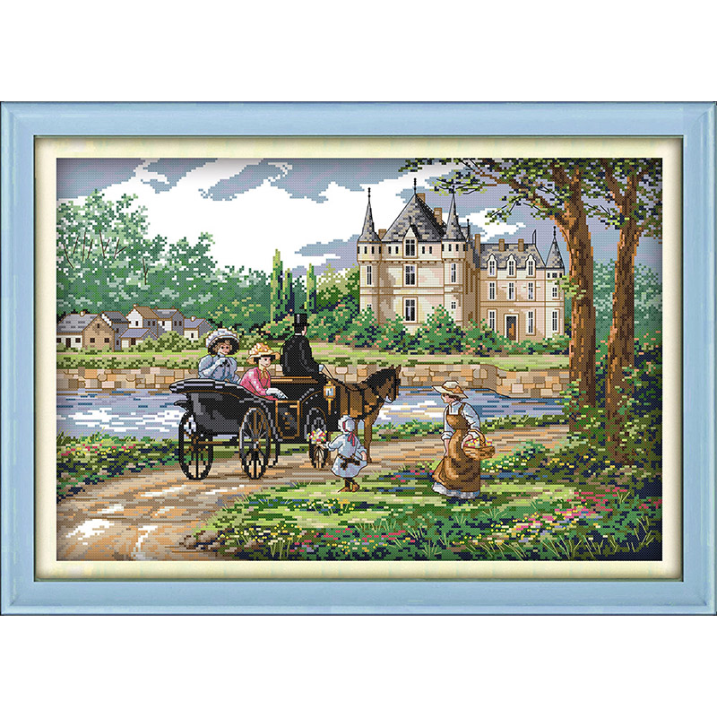 Everlasting love Christmas Suburban scenery  Ecological cotton Cross Stitch 11CT Printed DIY gift  new year decorations for homeEverlasting love Christmas Suburban scenery  Ecological cotton Cross Stitch 11CT Printed DIY gift  new year decorations for home
