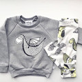 2017 Nueva Moda ropa infantil bebé arropa sistemas de dinosaurio de manga Larga t-shirt + pants 2 unids Recién Nacido la ropa del bebé