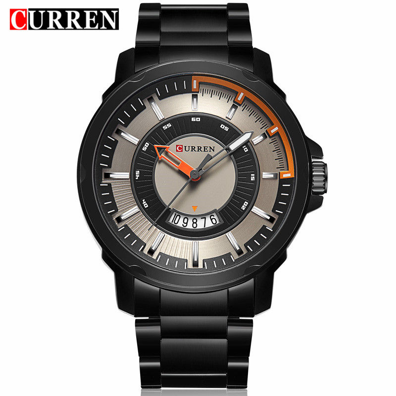 Curren Часы Для мужчин S бренд класса люкс черный Нержавеющаясталь человек часы кварцевые Для мужчин Повседневное Спорт часы мужские наручны...