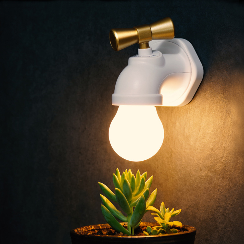 New USB Charging Faucet Type Voice Control Mini LED Night Lamp Warm Light for Baby Bedside Lamp Rechargeable Tap Wall Lamp white rotating rechargeable led talbe lamp usb micro charging eye protection night light dimmerable bedsides luminaria de mesa