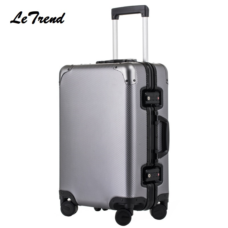 цена на 100% High Quality Aluminum Alloy Rolling Luggage Spinner Suitcases Wheel 20 inch Men Business Carry On Trolley Travel Bag