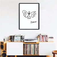 100% handpainted oil Painting Poster Simple Stroke lines of Butterfly Picasso series Abstract Wall Pictures for Kid's room