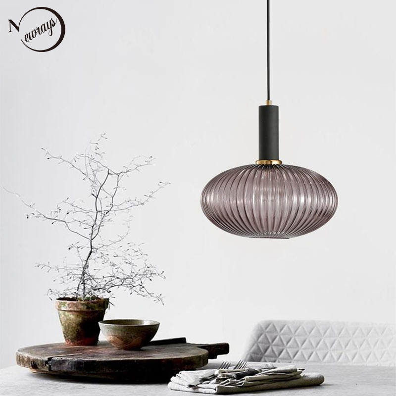 Novelty stripe glass hanging lights E27 LED 6 color lamp holder pendant lamp for kitchen living