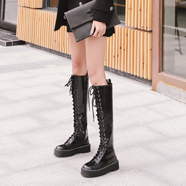 YMECHIC Womens Punk Platform Knee High Boots Black Ladies Gothic Rock Lace  Up Cross Tied Long Bota Motorcycle Boots Winter Shoes c9e8b66ea3e3