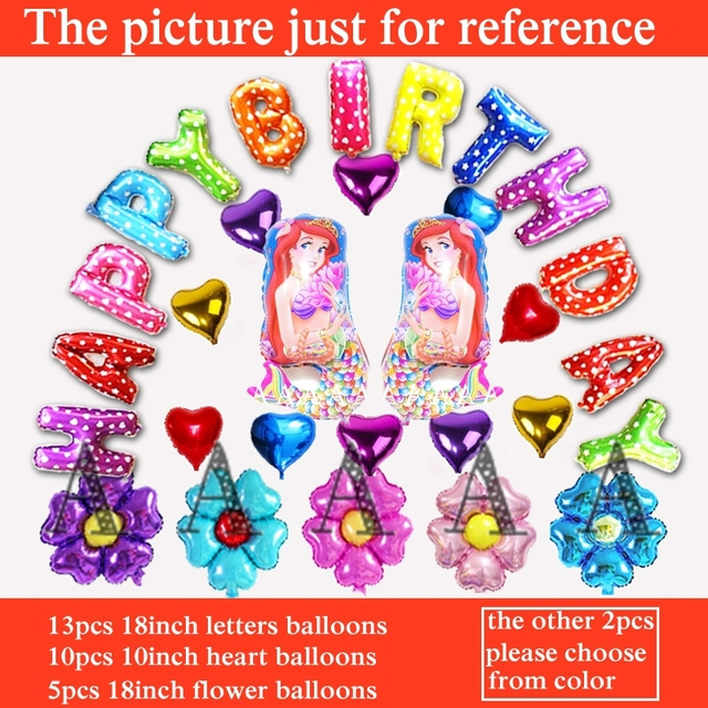 Princess Ariel Balloons Birthday Mermaid Foil For Happy Party Decoration Letters 30pcs