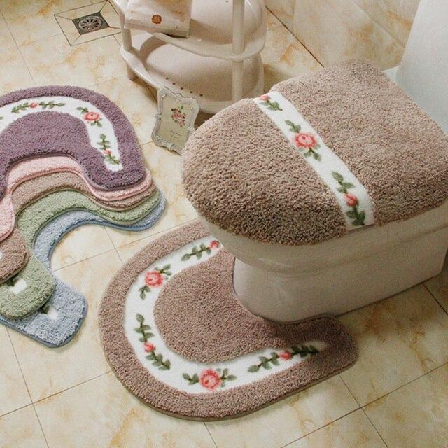2 pz/set di Inverno Ispessisce Scaldino Lavabile Toilet Set Da Bagno Zerbino Tav