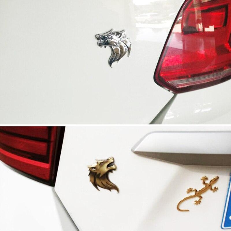 Motorcycle Side Silver Decal Sticker Wolf Head Logo Badge Emblem 3D Metal Car