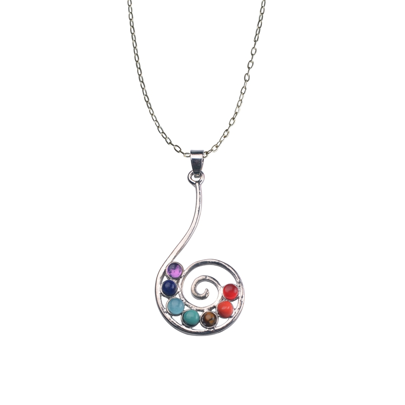 Reiki chakra pendant necklace rainbow color stone beaded yoga jewelry for woman sport gifts Lol