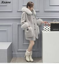Xnxee Gray Faux Fur Coat With Hood Plus Size Casual Loose Long Striped Fake Mink Coats Jackets Women Sleeves 2018 Winter