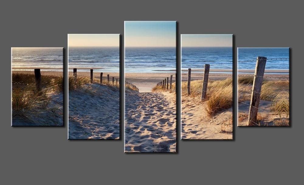 Canvas Prints Wall Art Beach Unframed Ready to Hang 5 Panels Beach Canvas Print Photo Ca ...