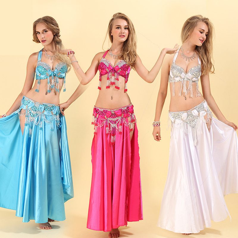 New Arrival Women Belly Dance Costume Set Bra+Belt 2 Pieces Sexy Handmade Beaded Costumes Indian Belly Dancing Wear 8 Color
