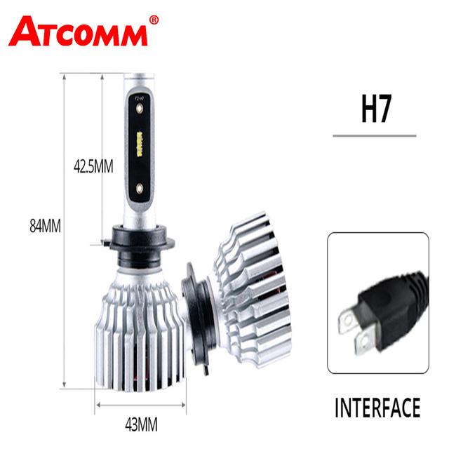 ATcomm H7 LED Car Mini Headlight Bulb 12V 6500K White 8000lm ZES 24V Automoblies H4 Phare Ampoule LED VoitureFor Coche Moto