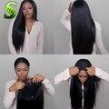 Sin cola Llena Del Cordón Pelucas de Pelo Humano Para Las Mujeres Negras Brasileñas recta Del Pelo Humano Del Frente del Cordón Pelucas Nudos Blanqueados Encaje pelucas