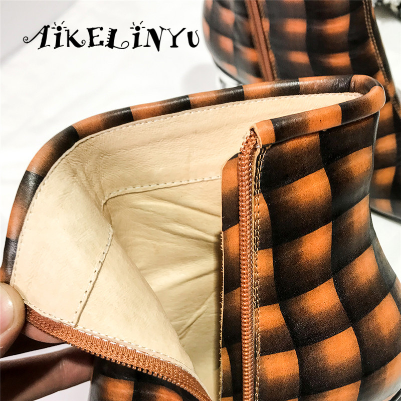 AIKELINYU Spring Autumn Fashion Women Ankle Boots Round Head British Style Zip Thick Med Heels Featured Checked Boots Woman Shoe in Ankle Boots from Shoes