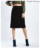 Fashion Corduroy Black Skirts Women Single Button Pocket High Waist Jupe Femme Knee Length Streetwear Straight Faldas Saia Midi