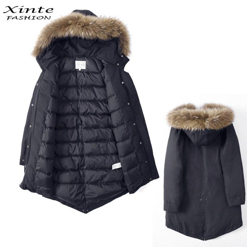 Xinte Fashion 2017 Women Warm Down Coat with 100% Real Raccoon Fur Trim Hood Jackets Outwear Thick Winter Garment