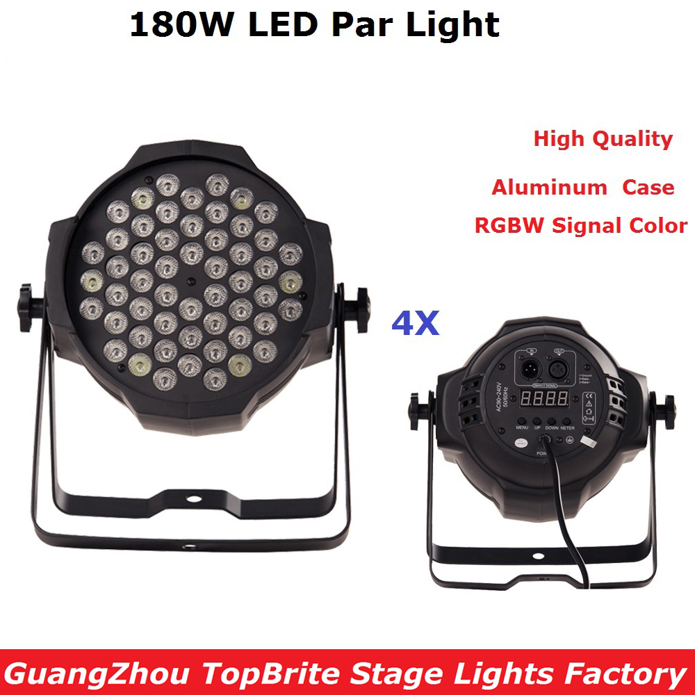 4Pcs/Lot 2017 New Design Aluminum Case 180W LED Par Lights High Quality 54X3W RGBW Signal Color LED Flat Par Cans Fast Shipping 2017 factory price big discount 180w high power led par light 54x3w rgbw single color led flat par lights 90 240v new design