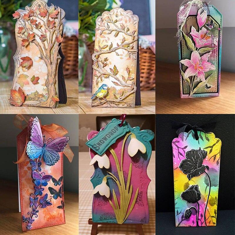 3D метки птица ветка Голое Дерево бабочка Маки лилии металлические режущие штампы для DIY Скрапбукинг Бумага для открыток делая 2019 Новый