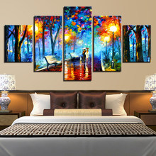 Canvas Prints Poster Home Decor Wall Art 5 Pieces Walking In The Rain Nightscape Pictures Modular Abstract Color Trees Paintings(China)