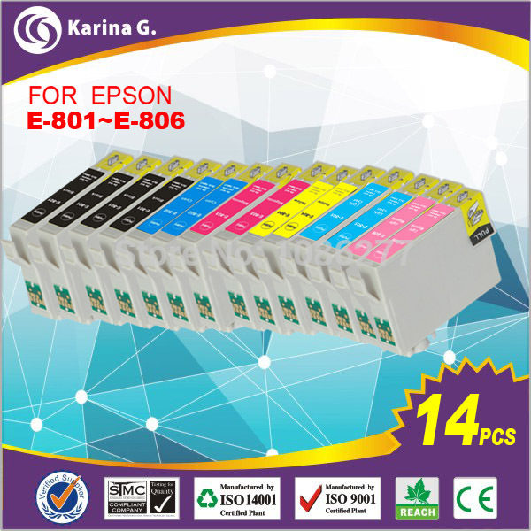 14X съвместима касета с мастиленоструен принтер T0801-T0806 За EPSON Stylus Photo R265 T59 P50 2SETS + 2 ЧЕРЕН ПОВЕЧЕ