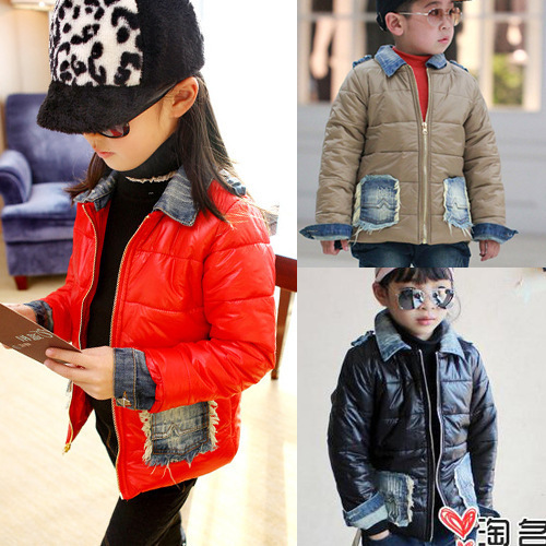 ФОТО Free shipping Autumn winter boy girl cowboy short jacket children clothing
