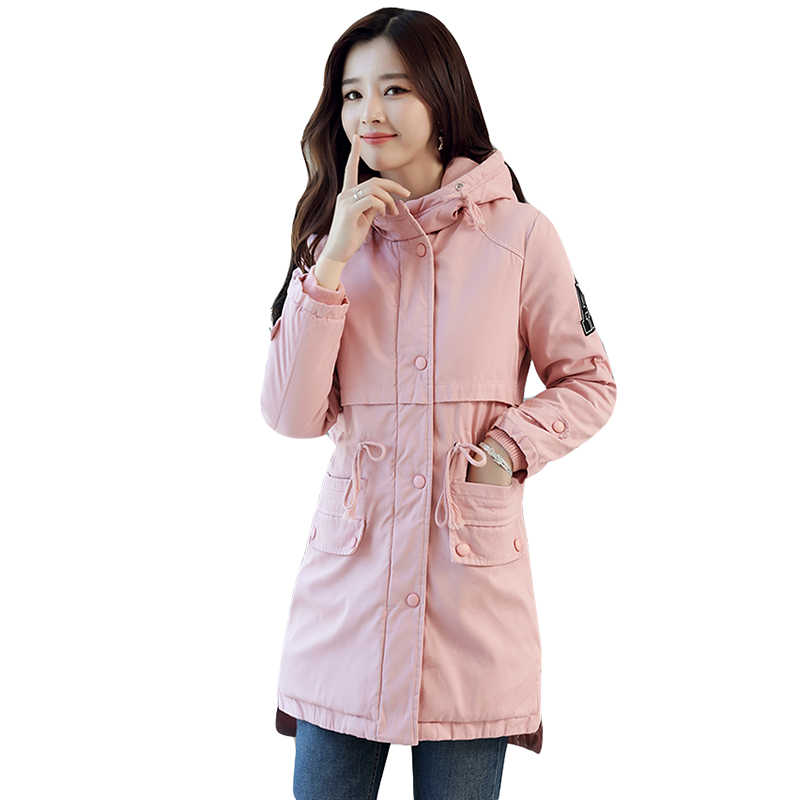2019 winter new cashmere cotton jackets Female thicken warm not down velvet coat jacket ladies medium long hooded coat women's
