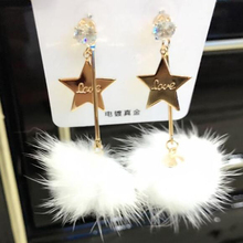 MANY COLORS Charmcci  Faux Rabbit Fur Ball Dangle Star Earrings Pom Pom Drop Earrings Cute Christmas Gift Earring For Women