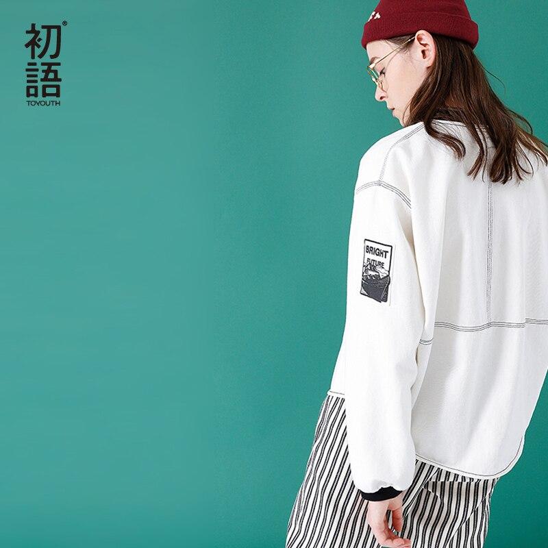 Toyouth 2018 весенние женские куртки Свободные стенд воротник бейсбольное пальто белая печать с длинными рукавами хлопок Повседневная куртка