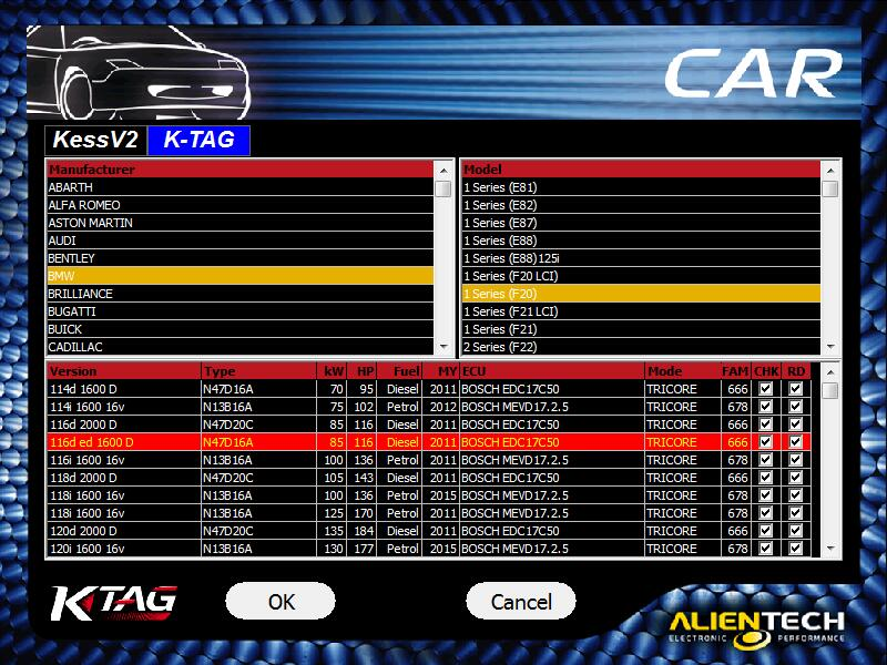 ktag 7.020 support car showing 2