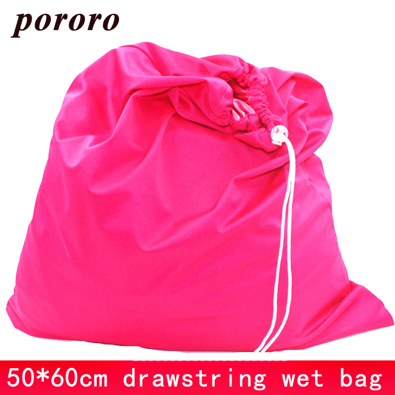 50*60cm Nappy Bag Draw Cord Reusable Cloth Diaper Wet Bag TPU Solid Waterproof Drawstring Changing Mat Wet Bag Waterproof