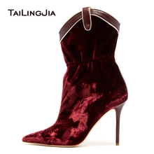 Burgundy Velvet High Heel Ankle Boots Pointed Toe  Stiletto Heel Booties Women Shoes Ladies Curved Top Heeled Short Boots 2019 ladies sexy pointed toe blue denim lace up short boots super high heel jean ankle booties street fashion boots