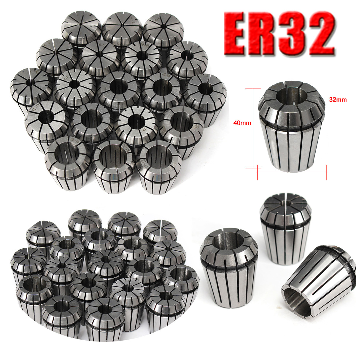 19pcs ER32 Collet Chuck Metric Precision 2-20mm For CNC Chuck Milling Engraving Tools Machine Tools Accessories Milling Cutter er32 16 high precision spring collect chuck cnc milling machine tools